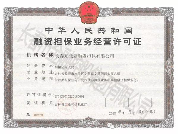 集团完成长春东北亚融资担保有限公司工商注册
